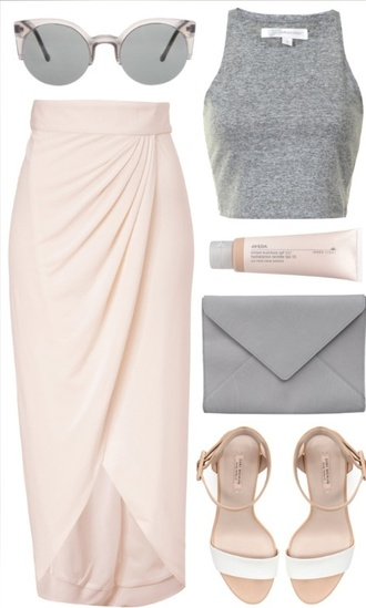 skirt wrap skirt shirt shoes sunglasses bag make-up summer outfits mid heel sandals baby pink slit maxi rose skirt maxi skirt crop tops tulip bandage skirt dress gray maxi skirt blush pink wrap skirts