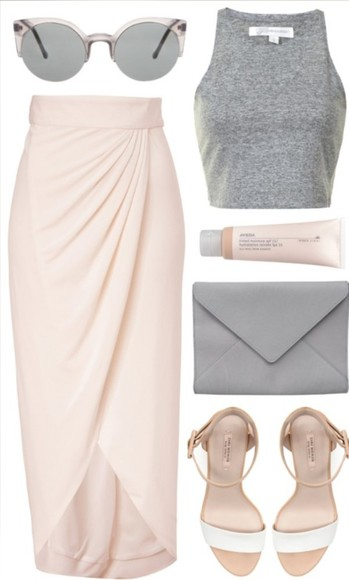 sunglasses skirt wrap skirt shirt shoes bag baby pink slit maxi rose skirt maxi skirt
