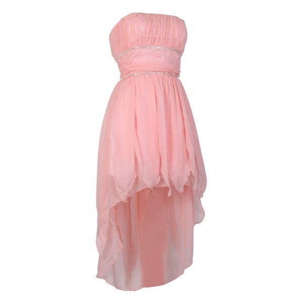 dress dip hem boob tube light pink dress cocktail dress