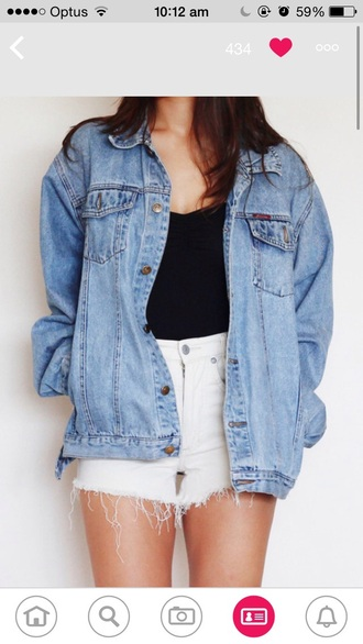 jacket denim denim jacket clothes warm style fashion trendy blue vintage