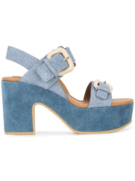 See by Chloe denim women sandals platform sandals cotton blue shoes