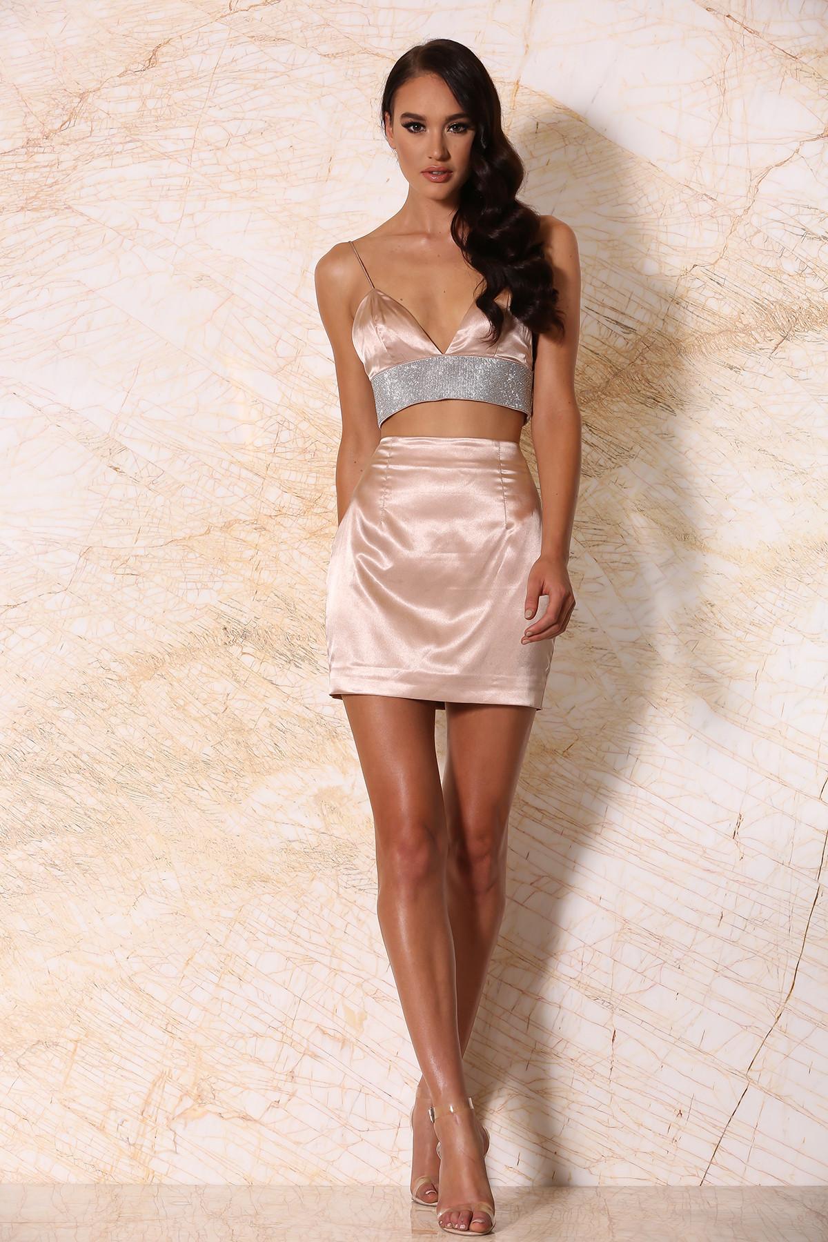 Satin Mini Skirt - Blush