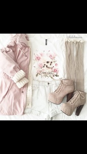 shoes,suede boots,chunky sole,chunky heels,chunky boots,platform shoes,lace up boots,ankle boots,t-shirt,jacket,pastel,skull,skull t-shirt,coat,light pink jacket,shirt,pink coat,cute top,girly,blouse,shorts,socks,pink jacket,cute,spring outfits