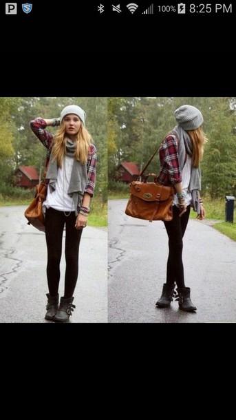 hat plaid zip up scarf purse jeans