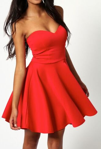 red dress skater dress red skater dress heart neckline model beach look beach dress date outfit valentines sweet girly elegant flowy dress flowey dress skirt skater skirt strapless dress strapless skater dress sexy dress girl women female first date first date dress skinny trendy midi dress