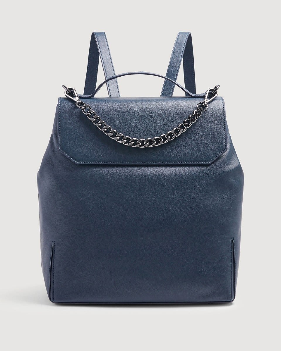 Leather Backpack in Navy