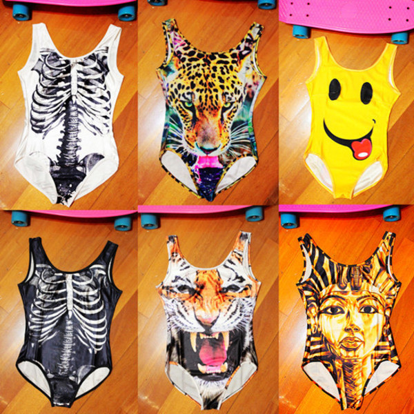 swimwear bikini one piece 3d leopard tiger skull smile