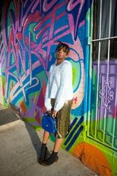 where did u get that,blogger,bag,socks,make-up,gold sequins,midi skirt,animal print