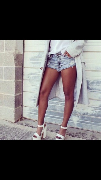 shoes white shoes high heels wedges white wedges white high heels coat