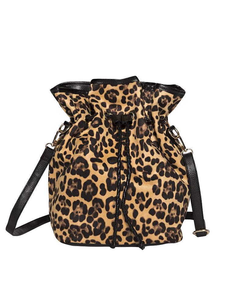 Leopard Bucket Bag - Animal Print Shoulder Bag - $55