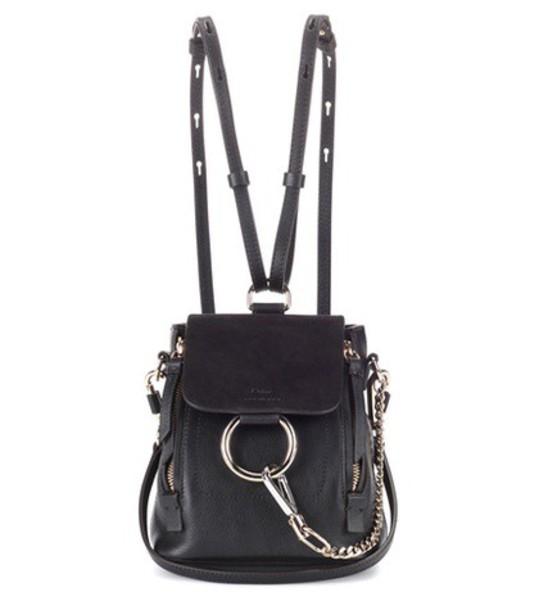 Chloe mini backpack suede backpack leather suede black bag