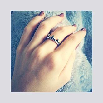 jewels ring crown ring crown tiara jewelry nail fluffy nail polish mauve