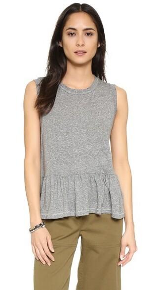 sleeveless ruffle grey heather grey top
