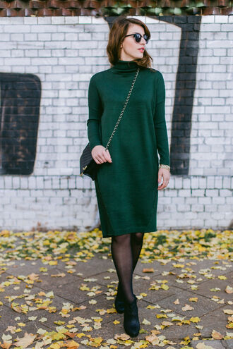 shoes sunglasses green turtleneck dress black tights black ankle boots blogger