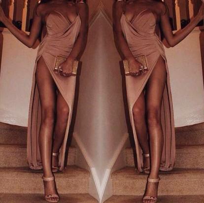 Show body sexy backless deep v dress