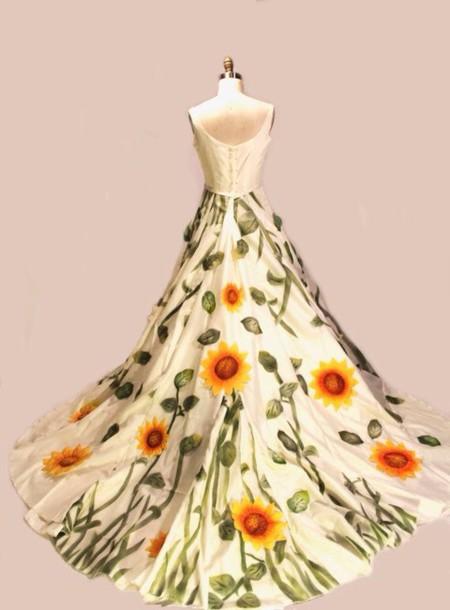 Dress sunflower wedding dress wheretoget for Sunflower dresses for wedding