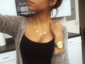 jewels necklace choker necklace coin double layered double layer coin necklace accessories jewelry