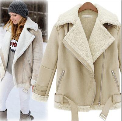 Shop Women Winter Jacket Fashion Faux Sheepskin Shearling Coat ...