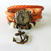 jewels,wrap watch,leather watch,anchor bracelet,orange,vintage style watch,watch