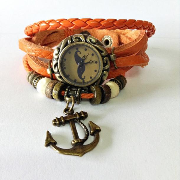 jewels wrap watch leather watch anchor bracelet orange vintage style watch watch watch