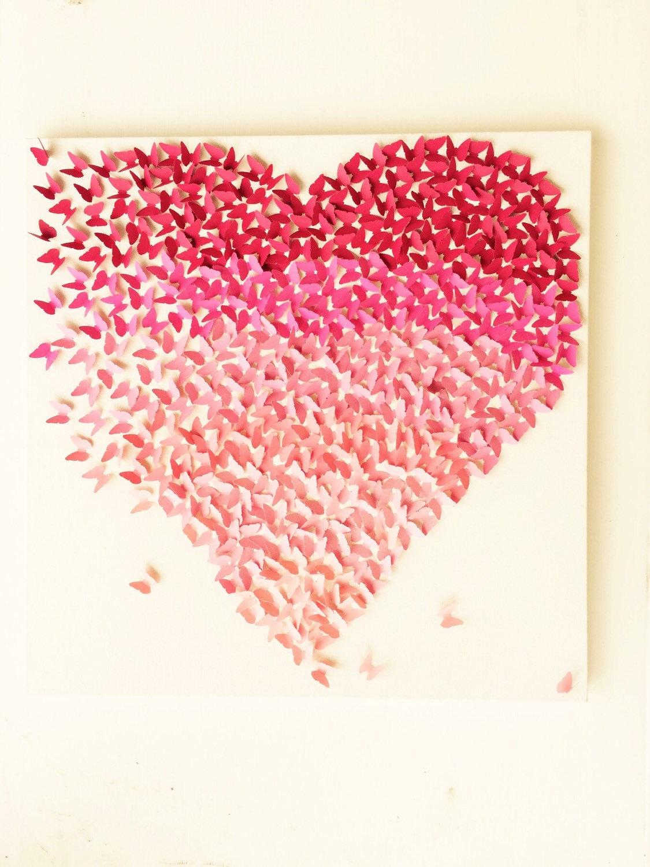 Butterfly Heart Pink Ombre Canvas Handmade Art Wall