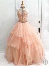 dress,blush pink,peach,peach dress,prom dress,prom,homecoming dress,halterneck prom dress