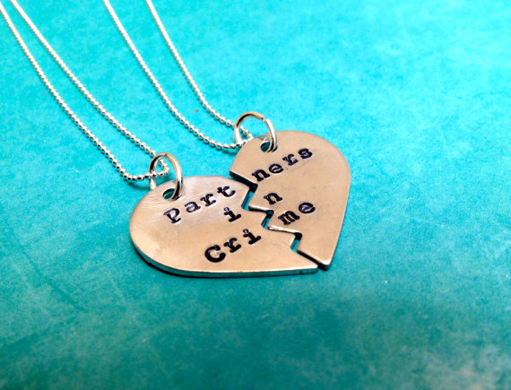 Partners in Crime Hand Stamped Broken Heart by LaurenElaineDesigns