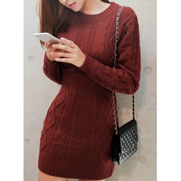 Style Scoop Neck Long Sleeve Cable-Knit Sweater Dress For Women