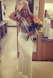 dress,pageant dress,silver and white gown,prom dress,formal dress,from sherri hill
