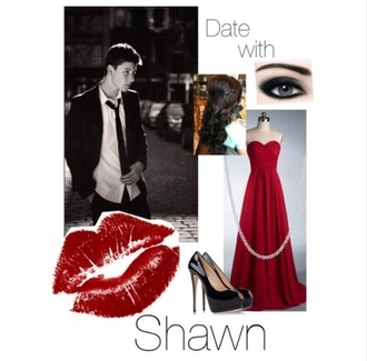 shawn mendes date outfit red dress shoes