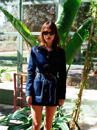 dress rouje blue dress denim denim dress long sleeves long sleeve dress sunglasses jeanne damas