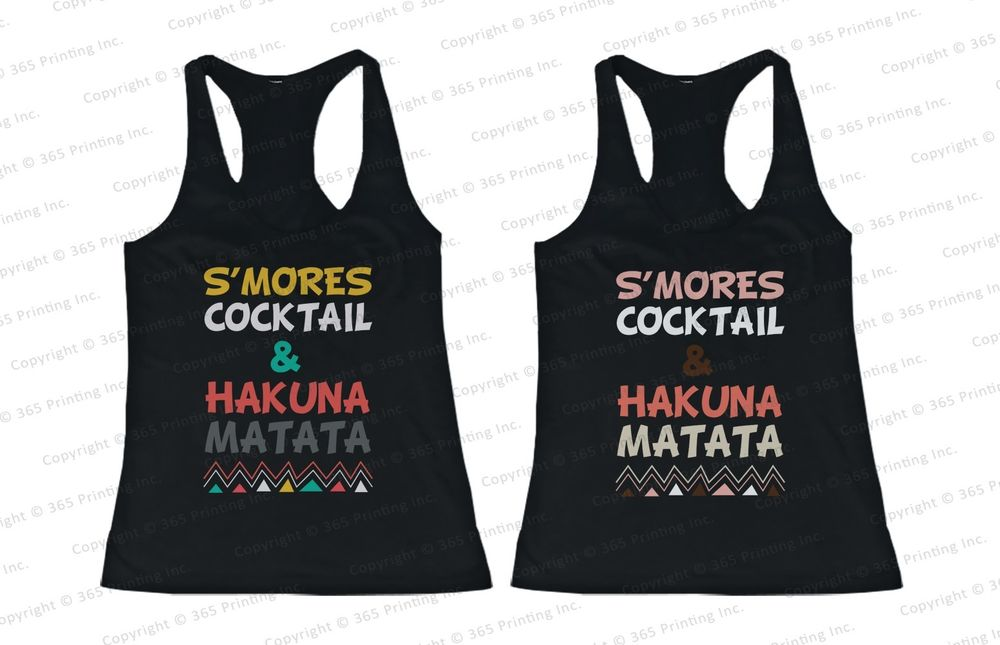 Best Friend Matching Summer Beach Tank Tops s'mores Cocktail and Hakuna Matata | eBay