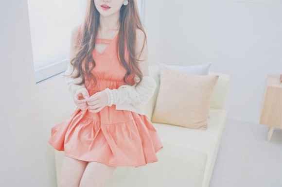 pink dress ulzzang kfashion