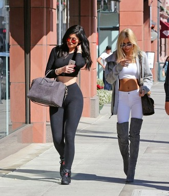 sunglasses kylie jenner leggings crop tops all black everything sneakers bag shoes top jeans jacket kylie jenner sneakers
