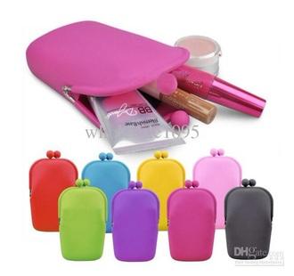 bag rubber makeup bag pink blue yellow red green purple black cosmetic makeup bag