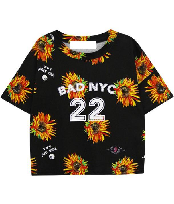 Black Batwing Short Sleeve Daisy 25 Print T-Shirt - Sheinside.com
