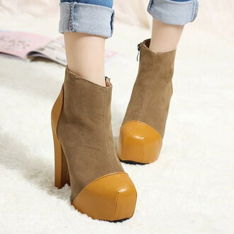 shoes boot high heel platform shoes zip