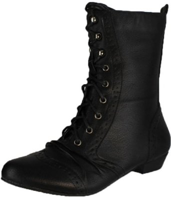 Amazon.com: Refresh Lee-01 Women's Mid Calf Combat Boots on Oxford Structure: Shoes