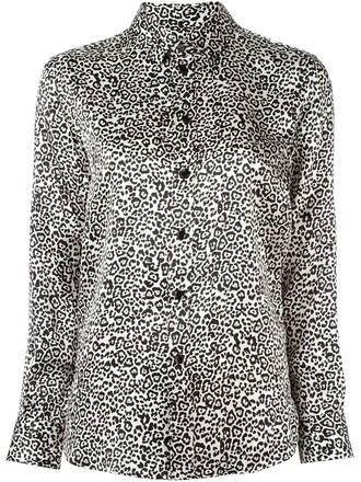 shirt print leopard print black top
