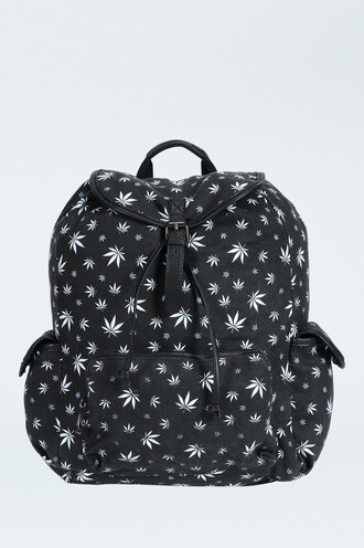 bag marijuana girl backpack weed black and white