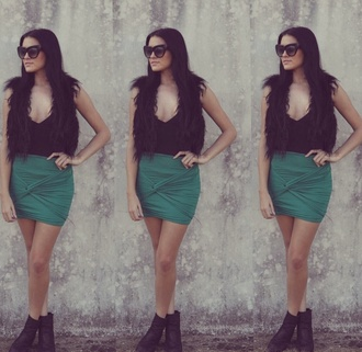 wrap skirt evidenceofenvy green winter outfits bodycon dress turquoise hot trend