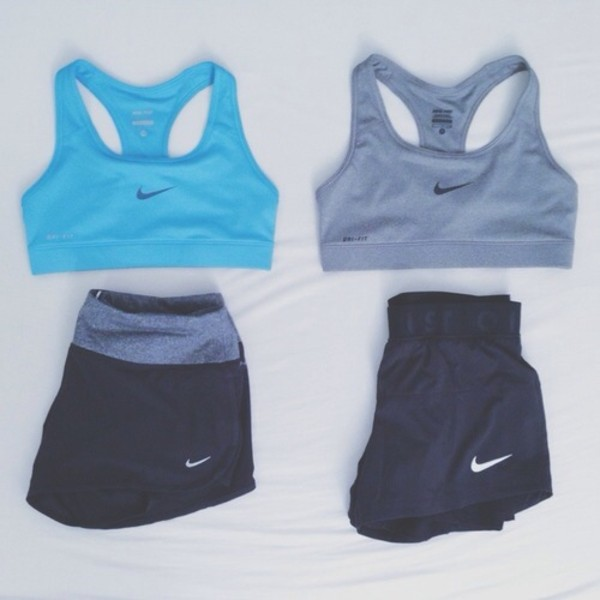 shorts nike sportswear top sports bra nike sportswear tumblr fitness fitness tank top light blue grey black shorts blue black sportswear