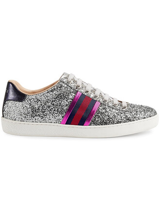 glitter women leather grey shoes