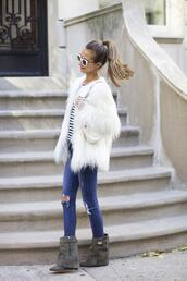 something navy,blogger,bag,jeans,jacket,sunglasses,make-up,faux fur,fluffy,shoes,shirt,coat,white fur coat,fur coat,stripes,striped top,white sunglasses,blue jeans,ripped jeans,grey boots,fall outfits,white fur jacket