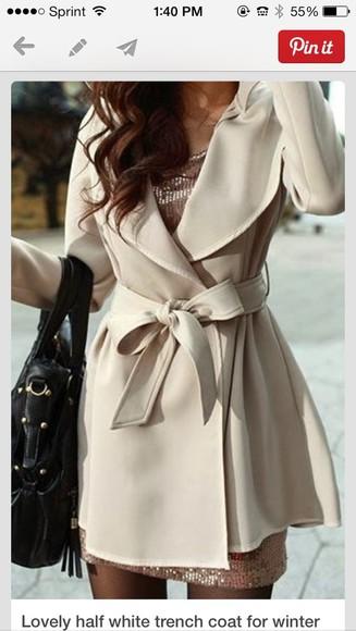 nude cream ivory coat cute cream now trench coat