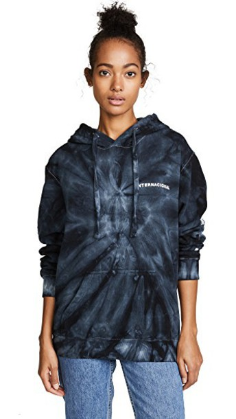 Paradised hoodie sun tie dye black sweater