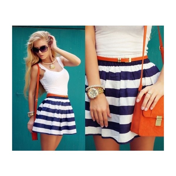 dress stripes summer tank top skirt outfit