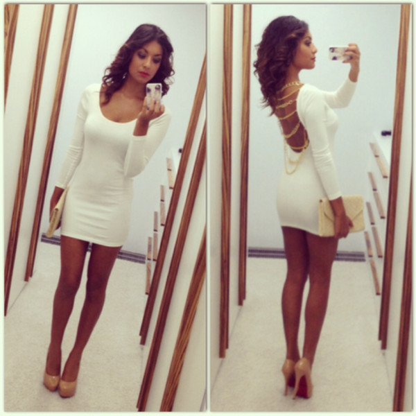 dress gold white dress high heels laboutine clutch curly hair little white dress bodycon dress gold chain nude shoes nude high heels nude clutch short dress open back dresses handbag blouse long sleeve dress long sleeves chain cute dress beautiful white openback heels bag purse party party dress baige gold dress bodycon dress chain dress