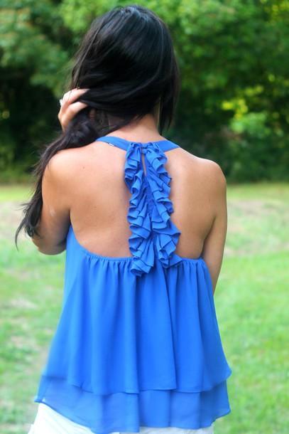 blouse ruffle back blouse chiffon