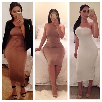 dress trendyish tube strapless mide maxi tight